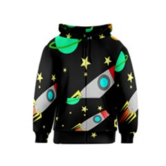 Planet Saturn Rocket Star Kids  Zipper Hoodie by AnjaniArt