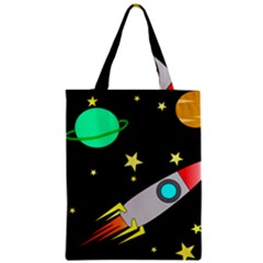Planet Saturn Rocket Star Zipper Classic Tote Bag by AnjaniArt
