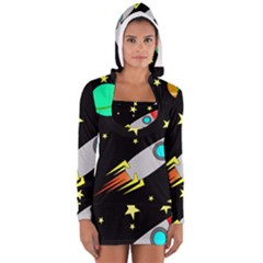 Planet Saturn Rocket Star Women s Long Sleeve Hooded T Shirt