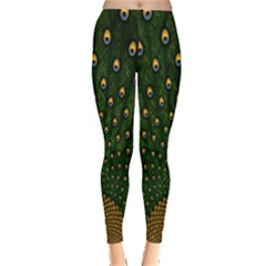 Peacock Feathers Green Leggings