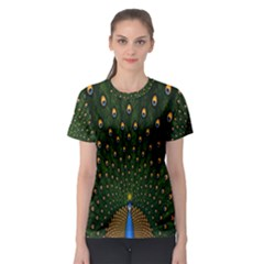 Peacock Feathers Green Women s Sport Mesh Tee