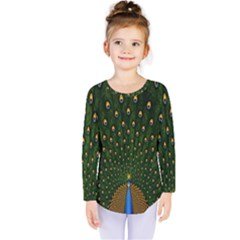 Peacock Feathers Green Kids  Long Sleeve Tee