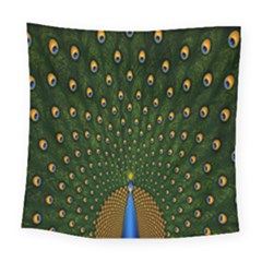 Peacock Feathers Green Square Tapestry (large) by AnjaniArt