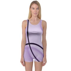 Purple Background With Ornate Metal Criss Crossing Lines One Piece Boyleg Swimsuit by AnjaniArt