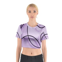 Purple Background With Ornate Metal Criss Crossing Lines Cotton Crop Top