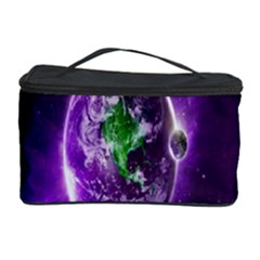 Purple Space Planet Earth Cosmetic Storage Case by AnjaniArt