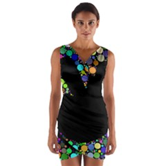 Prismatic Negative Space Comic Peace Hand Circles Wrap Front Bodycon Dress