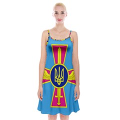 Ensign Of The Ukrainian Air Force Spaghetti Strap Velvet Dress