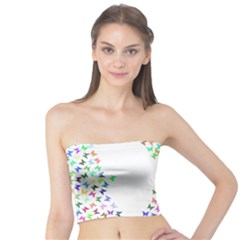 Prismatic Negative Space Butterflies Tube Top by AnjaniArt