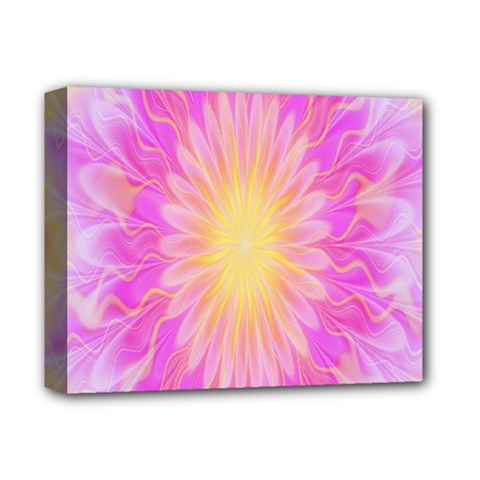 Round Bright Pink Flower Floral Deluxe Canvas 14  X 11  by AnjaniArt