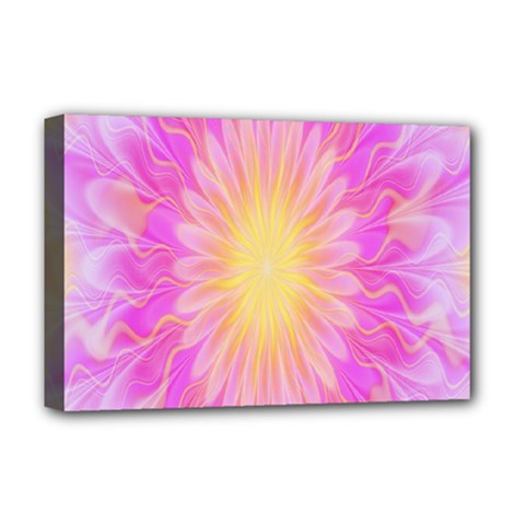 Round Bright Pink Flower Floral Deluxe Canvas 18  X 12