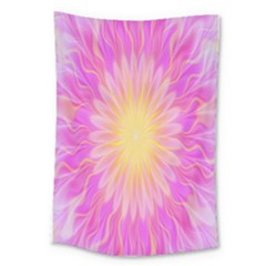 Round Bright Pink Flower Floral Large Tapestry by AnjaniArt