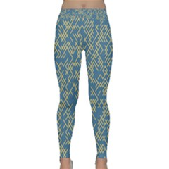 Random Blie Yellow Classic Yoga Leggings by AnjaniArt