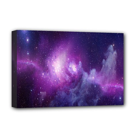 Galaxy Space Purple Deluxe Canvas 18  X 12   by AnjaniArt