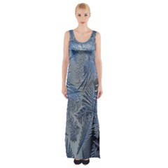 Frost Leafe Maxi Thigh Split Dress by AnjaniArt