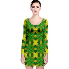 Background Colour Circle Yellow Green Long Sleeve Velvet Bodycon Dress