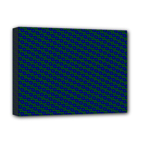 Chain Blue Green Woven Fabric Deluxe Canvas 16  X 12