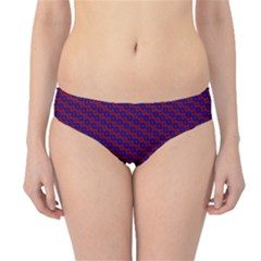 Chain Blue Red Woven Fabric Hipster Bikini Bottoms