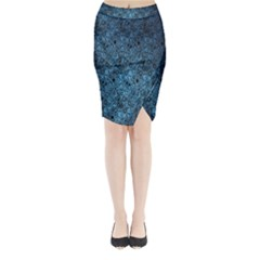 Blue Texture Midi Wrap Pencil Skirt