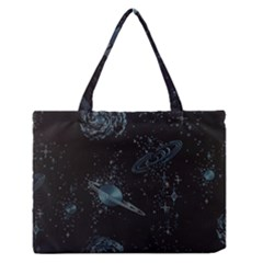 Decoboom Engraved Pickguard Space Saturnus Medium Zipper Tote Bag