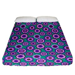 Clipart Floral Pattern Flower Purple Green Fitted Sheet (queen Size) by AnjaniArt