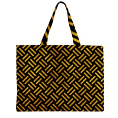 Woven2 Black Marble & Yellow Marble Zipper Mini Tote Bag by trendistuff