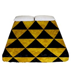 Triangle3 Black Marble & Yellow Marble Fitted Sheet (queen Size) by trendistuff