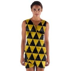 Triangle3 Black Marble & Yellow Marble Wrap Front Bodycon Dress