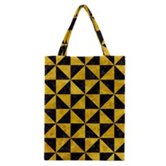 Triangle1 Black Marble & Yellow Marble Classic Tote Bag by trendistuff
