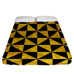 Triangle1 Black Marble & Yellow Marble Fitted Sheet (california King Size) by trendistuff