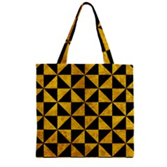 Triangle1 Black Marble & Yellow Marble Zipper Grocery Tote Bag by trendistuff