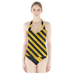Stripes3 Black Marble & Yellow Marble (r) Halter Swimsuit by trendistuff