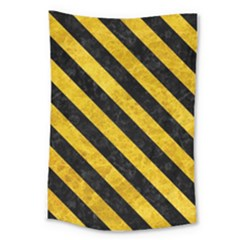 Stripes3 Black Marble & Yellow Marble (r) Large Tapestry by trendistuff