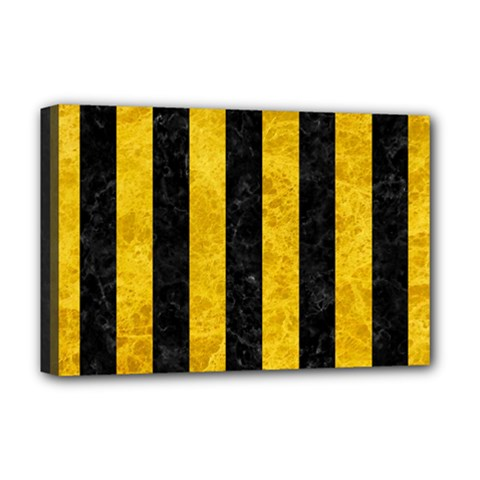 Stripes1 Black Marble & Yellow Marble Deluxe Canvas 18  X 12  (stretched) by trendistuff
