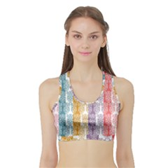 Digital Print Scrapbook Flower Leaf Color Green Red Purple Yellow Blue Pink Sports Bra With Border