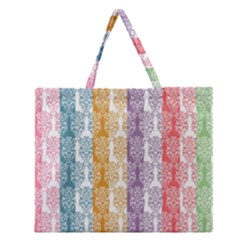 Digital Print Scrapbook Flower Leaf Color Green Red Purple Yellow Blue Pink Zipper Large Tote Bag