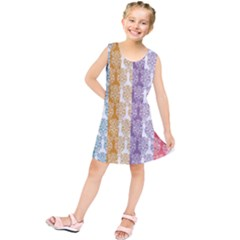 Digital Print Scrapbook Flower Leaf Color Green Red Purple Yellow Blue Pink Kids  Tunic Dress by AnjaniArt
