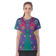 Colorful Peacock Line Women s Cotton Tee