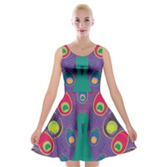 Colorful Peacock Line Velvet Skater Dress