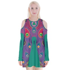 Colorful Peacock Line Velvet Long Sleeve Shoulder Cutout Dress