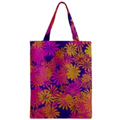 Floral Pattern Purple Rose Zipper Classic Tote Bag by AnjaniArt