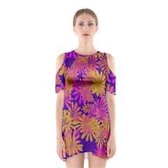 Floral Pattern Purple Rose Shoulder Cutout One Piece