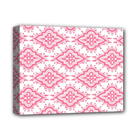 Flower Floral Pink Leafe Deluxe Canvas 14  X 11  by AnjaniArt