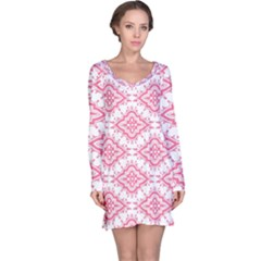 Flower Floral Pink Leafe Long Sleeve Nightdress