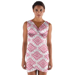 Flower Floral Pink Leafe Wrap Front Bodycon Dress