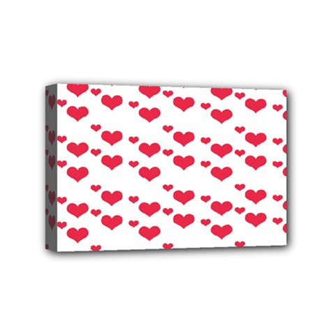 Heart Love Pink Valentine Day Mini Canvas 6  X 4
