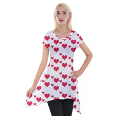 Heart Love Pink Valentine Day Short Sleeve Side Drop Tunic by AnjaniArt