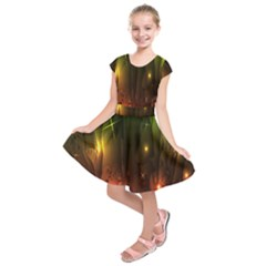 Fractal Manipulations Raw Flower Colored Kids  Short Sleeve Dress by AnjaniArt