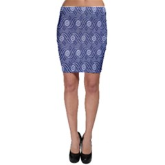 Flower Chevron Wave Blue Bodycon Skirt by AnjaniArt