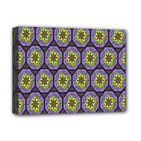 Background Colour Star Flower Purple Yellow Deluxe Canvas 16  X 12